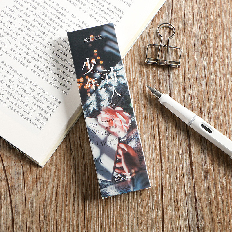30 Pcs/Set Cartoon Juvenile Poet Series Paper Bookmark Book Holder Message Card  Label Kawaii Gift Stationery