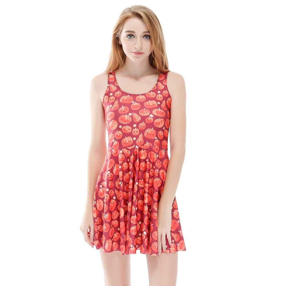 Sexy Women Clothes Cartoon Female Dresses JACK O LANTERN SKATER Pink DRESS Pleated Drop Shipping