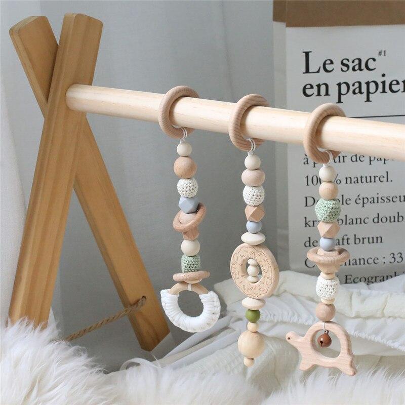 1 ensemble bébé hochet Mobile berceau Silicone perles hêtre bois beignet dentition bricolage à la main infantile lit poussette suspendus décor avec support - 2