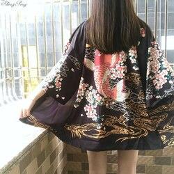 2018 Новое японское женское атласное кимоно юката винтажный костюм для сцены традиционный халат Женское японское кимоно CC261