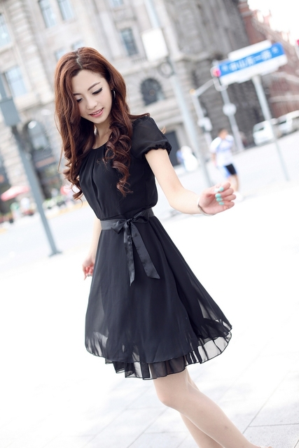 Free shipping 2013 brand new women's autumn and summer chiffon dress skirt wholesale Hot Korean Slim