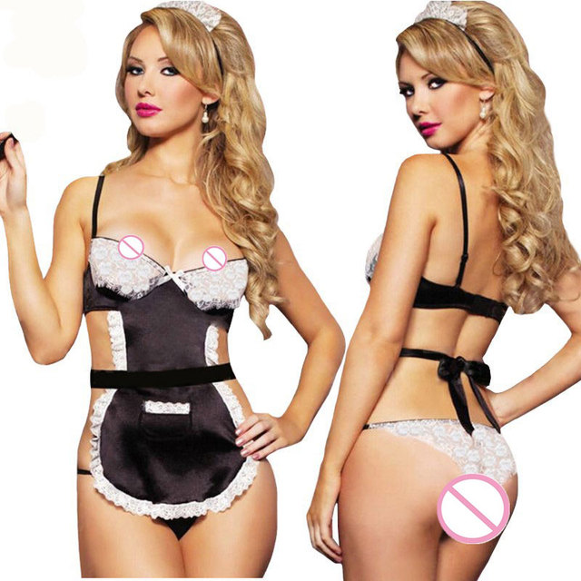 Women Sexy Lingerie Hot Pron Sexy Maid Uniform Cosplay Sexy Babydollhatthong Sexy