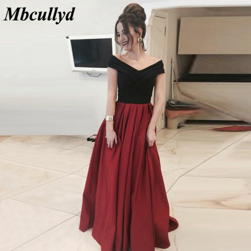 Mbcullyd African Backless A-line Long   Bridesmaid     Dresses   Simple Burgundy And Black Formal Party Gowns Newest Vestidos de fiesta