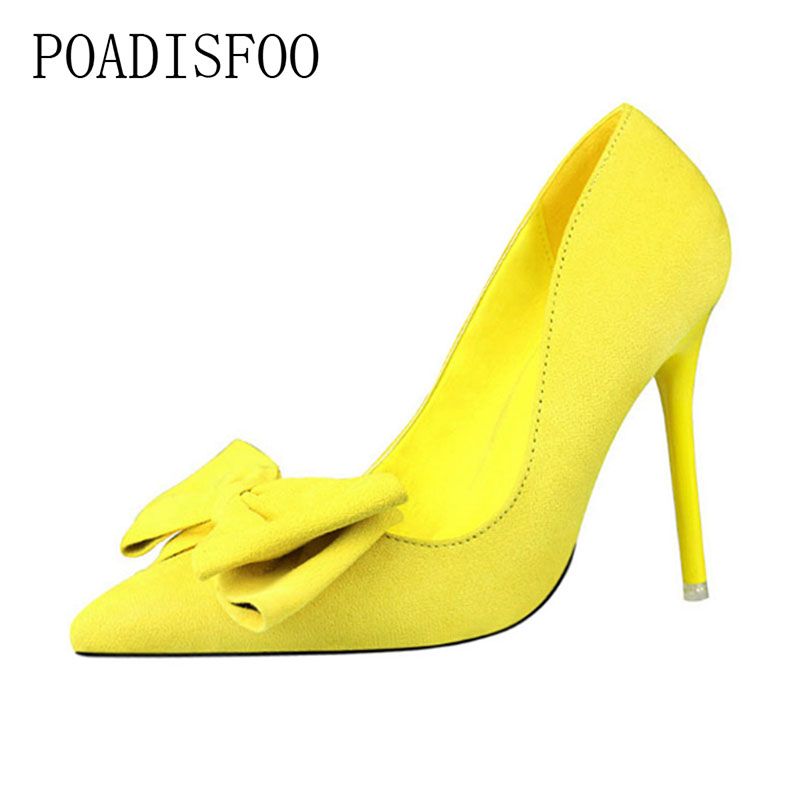 POADISFOO WOMEN SHOES high-heeled pointed pointed suede bow women's shoes pumps fashion sweet fine with .ZWM-305 blue feather design кожа pu откидной крышки кошелек карты держатель чехол для samsung j5prime