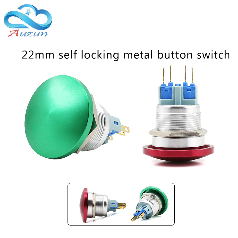 22 mm metal mushroom head start self-reset button switch often open red green welding foot screw foot current 5A 50pcs lot 6x6x7mm 4pin g92 tactile tact push button micro switch direct self reset dip top copper free shipping russia
