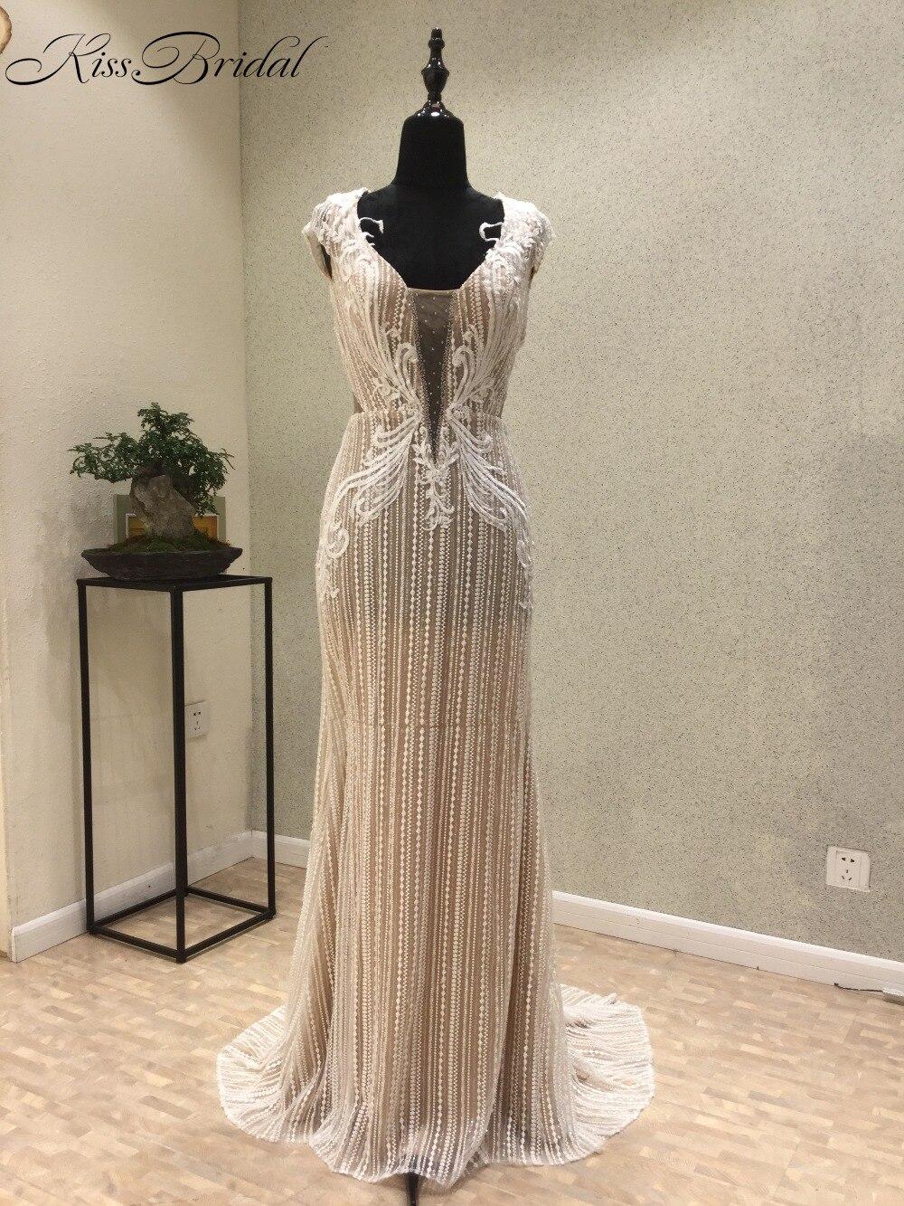 New Mermaid Long   Evening     Dress   2018 Scoop Cap Sleeve Floor Length Beading Tulle Mermaid Prom   Dresses   abendkleider