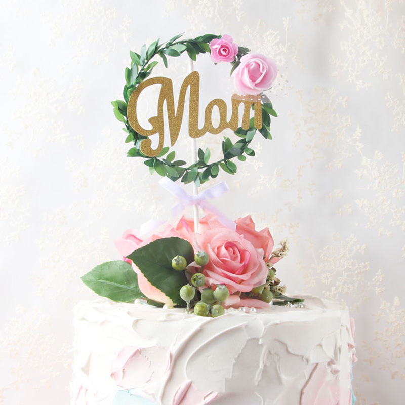 New 1pc 520 Cake Topper Glitter Paper Mom Cupcake Topper Flags For Mother's Day Birthday Baby Shower Cake Decorations Supplies-in Cake Decorating Supplies from Home & Garden