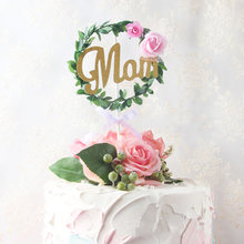 New 1pc 520 Cake Topper Glitter Paper Mom Cupcake Flags For Mothers Day Birthday Baby Shower Decorations Supplies