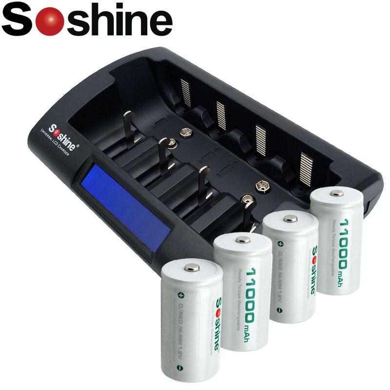 4 pièces Soshine D/R20 Taille Piles Rechargeables NiMH 11000 mAh avec Ni-Mh/Ni-cd AA 9 V D C Batteries Chargeur
