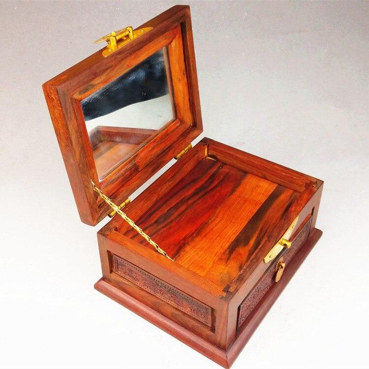 Maison en bois plaine rouge bois boîte à bijoux rouge bois sculpture meubles ornements comme cadeaux cents dressing boîte à bijoux