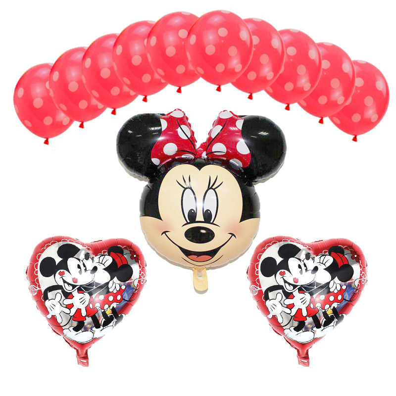 13pcs Baby Happy Birthday Decor Balloon Mickey Minnie Mouse 18 Inch Star Heart Number Helium Foil