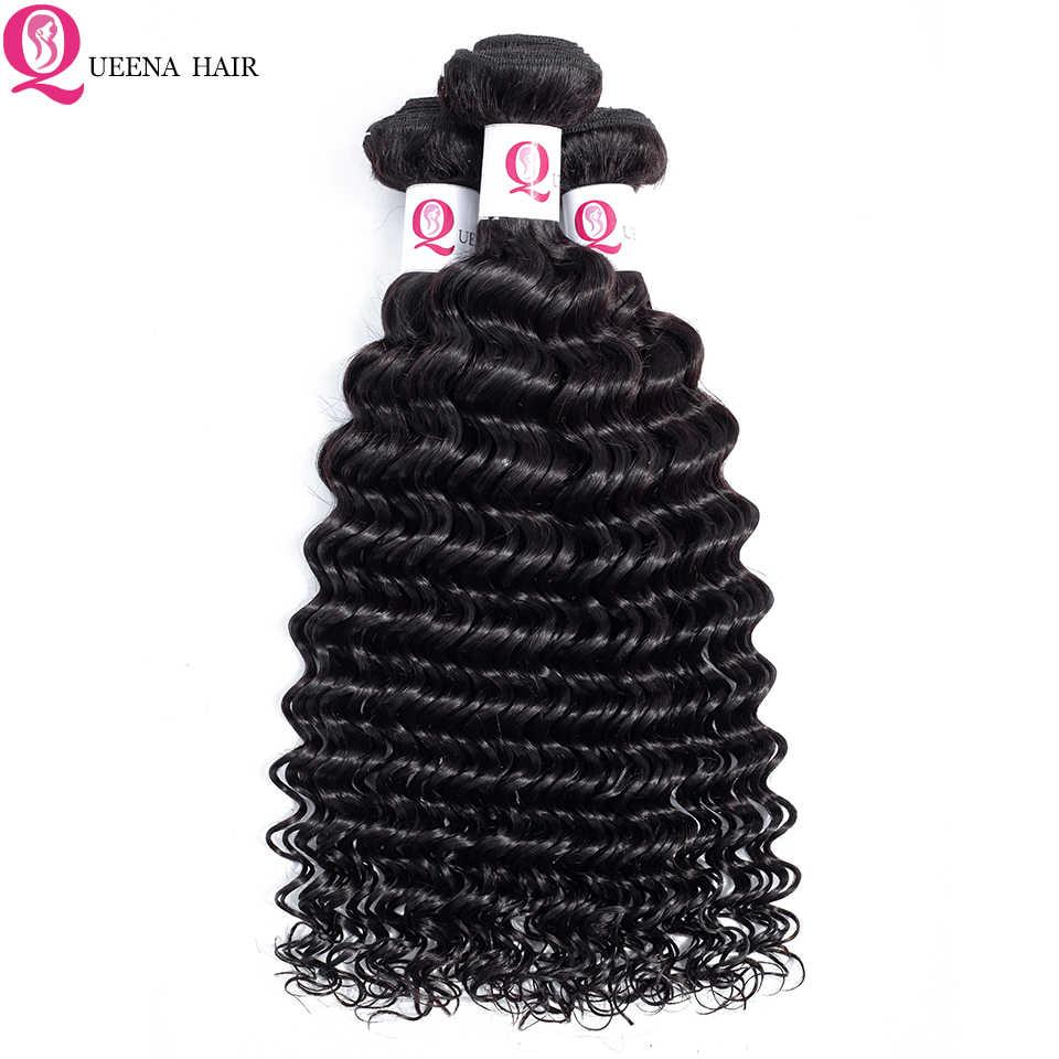 Paquetes de onda profunda peruano Queena con cierre de encaje paquetes de cabello humano virgen rizado negro Natural con cierre asequible