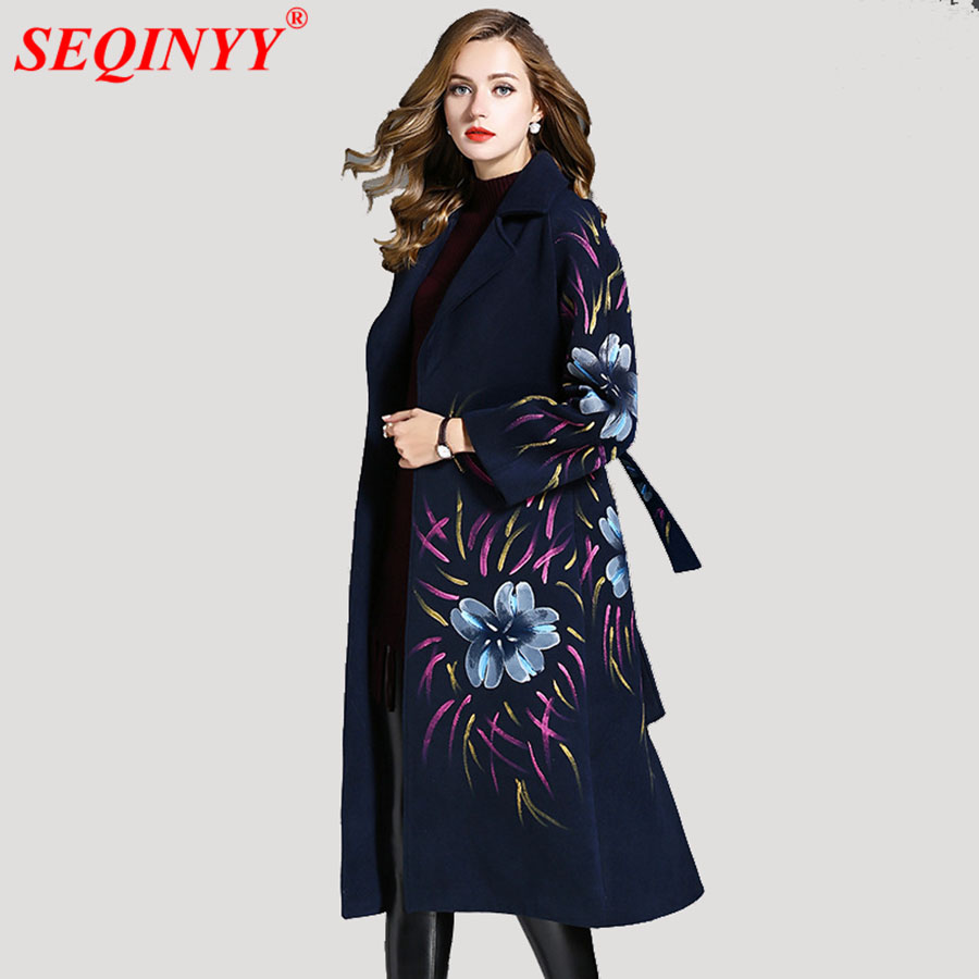 Grey Navy Blue Thick Wool Women's Coat 2018 Autumn Winter High End Full Sleeve Belt Exquisite Ink Print Long A-Line Slim Coats