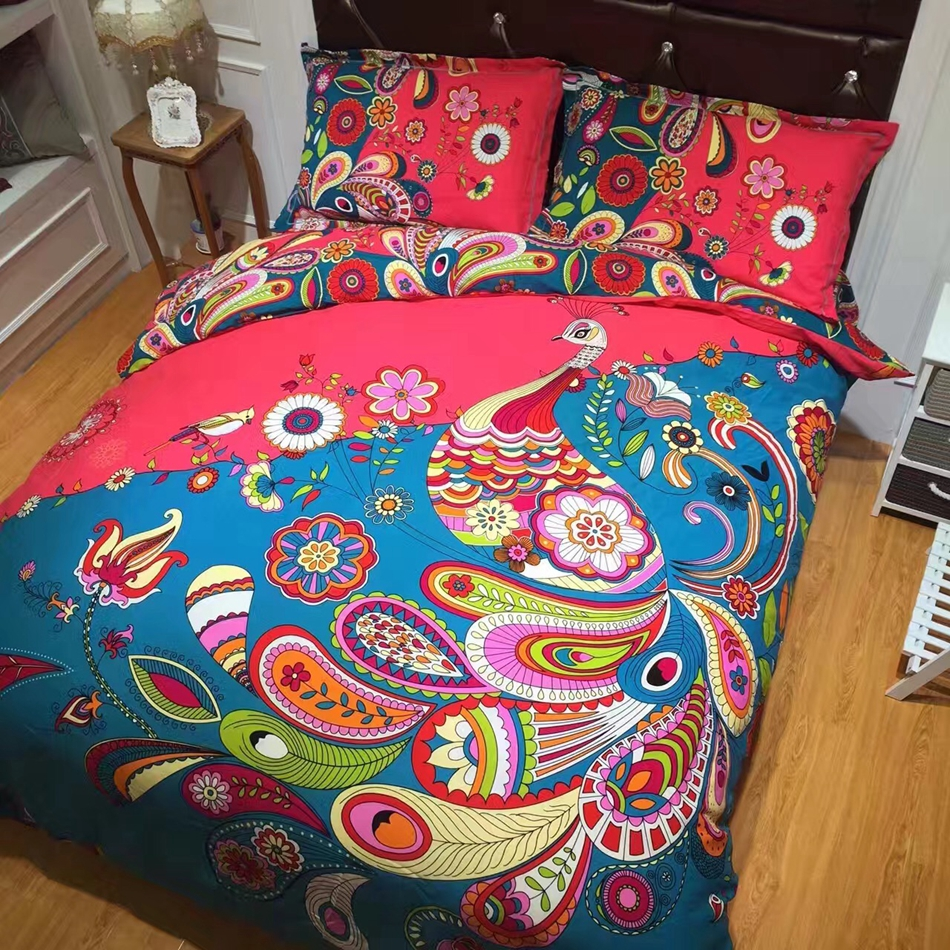 Fashion bedding set boho modern cotton bed sheet bright floral bedding Bohemian winter duvet cover king size phoenix print