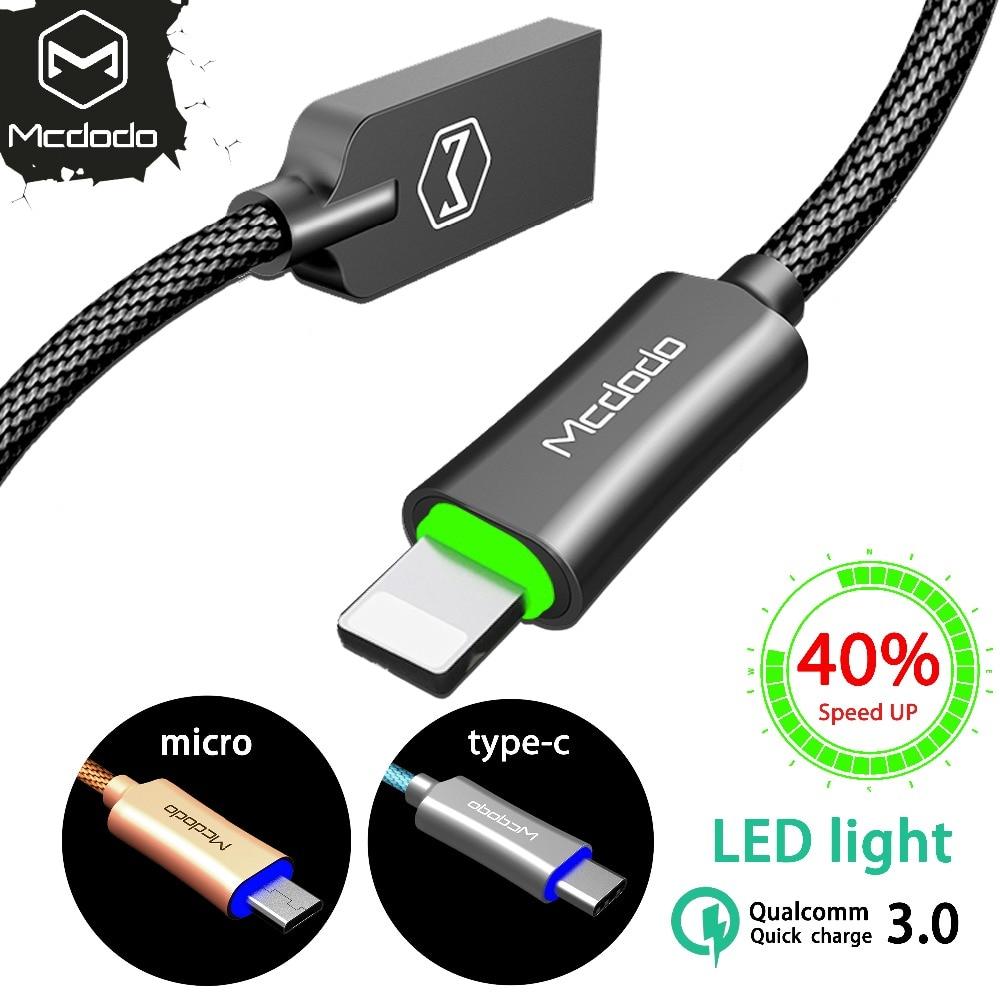 Mcdodo USB Kabel LED Für iPhone XS Max XR 8 7 6 Lade Für Blitz Micro Kabel Für Samsung huawei typ c Daten Auto Power Off