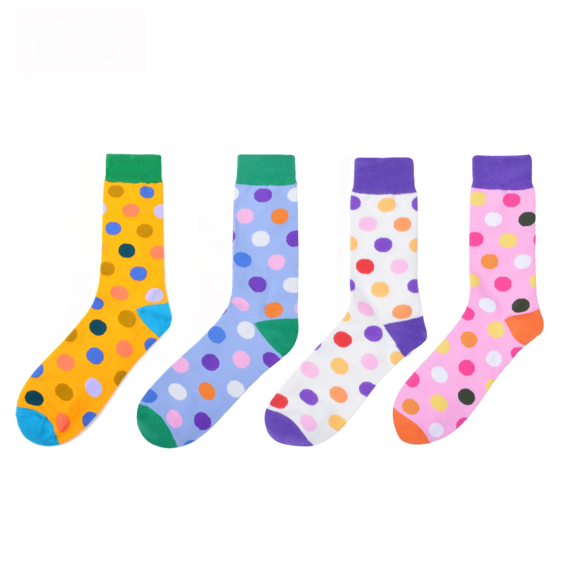 1 Pair 2020 Newest Colorful Men's Coloured Dots Pattern Combed Cotton Socks Novelty Dress Casual Crew Wedding Socks