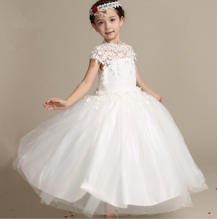 girl lace long dress with sweet flower for age 3 12 baby kids princess wedding prom party white big bow short sleeve dress