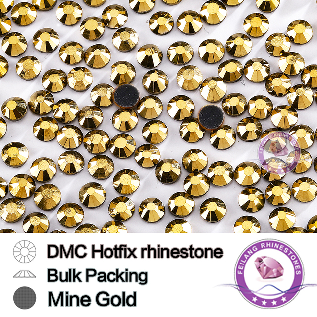 Mine Gold Size SS6 SS10 SS16 SS20 SS30 Bulking Packing HotFix Rhinestone For Garments Bags And Shoes