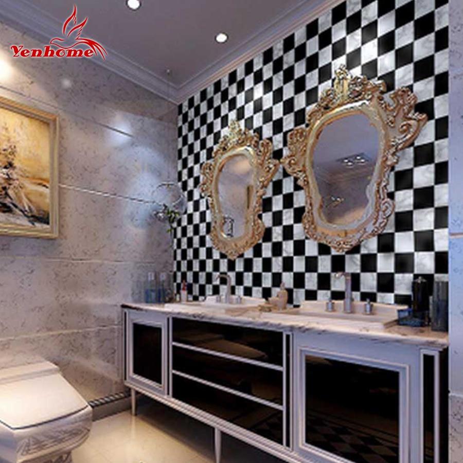 5M/10M Kitchen Wall Decals PVC Vinyl Waterproof Wall Stickers Bathroom Decor Countertop Mosaic <font><b>Tile</b></font> Self Adhesive Wallpaper Roll