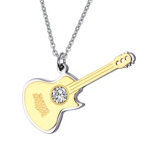 Custom Engraved 48mm Large Crystal Guitar Pendants in Stainless Steel Music Jewelry Friendship Gifts – Gold, Black