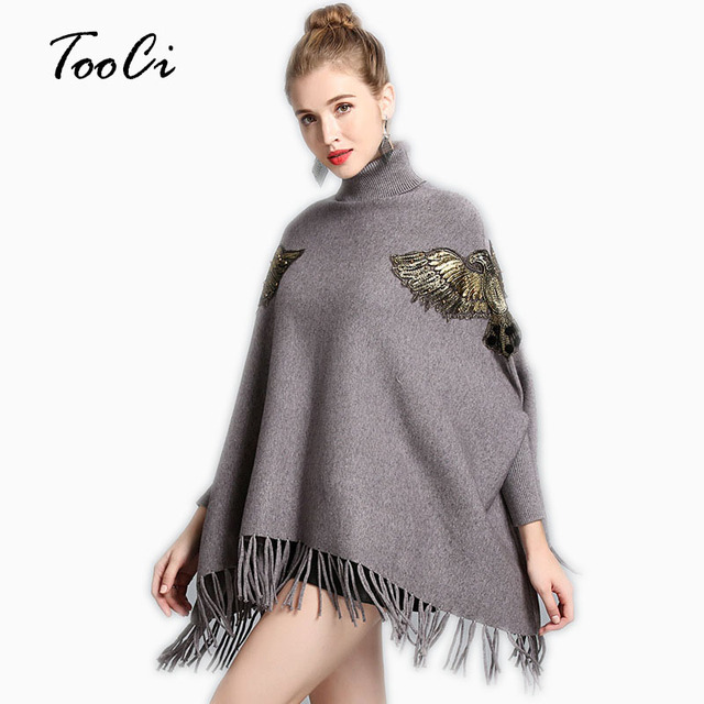 dde838142 Outono E Inverno As Mulheres Novo Manto Poncho Alta-Gola Manga Morcego  Pullover Camisola de