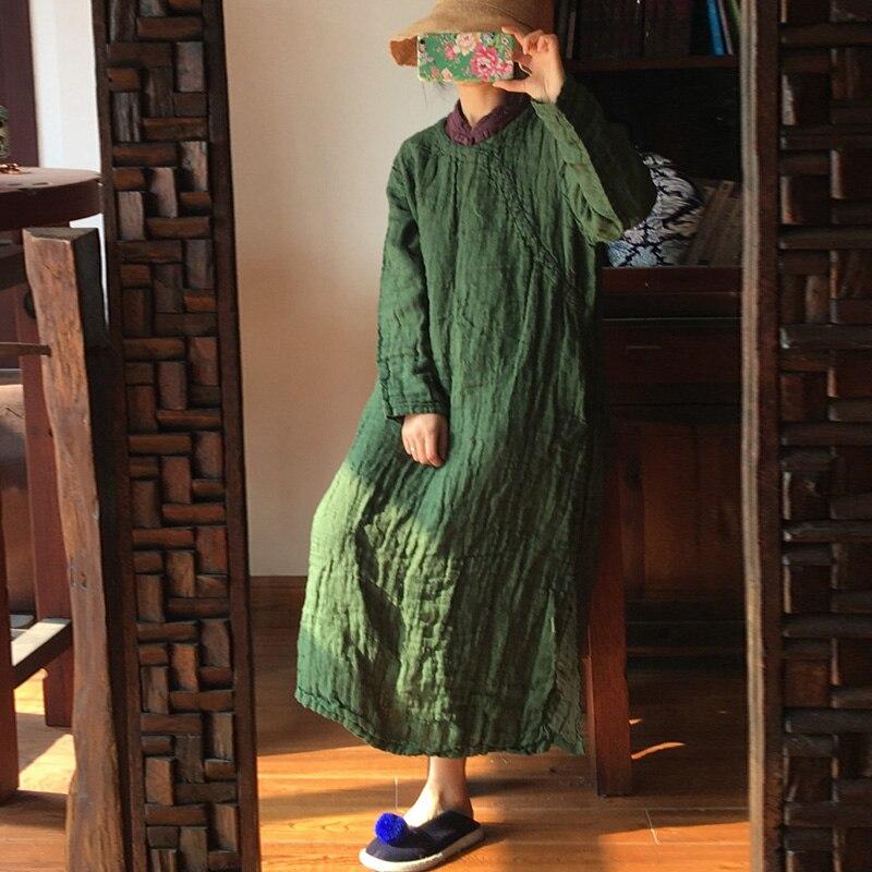 Kadın Giyim'ten Elbiseler'de Johnature Yüksek Kaliteli Keten Elbise Kadınlar Için 2019 Bahar Vintage O boyun Uzun Kollu Düz Renk Elbiseler Çin Tarzı Kadın Elbise'da  Grup 1
