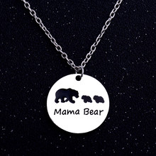 Mama Bear Animal Pendant Charm Necklace Gift Mother Kids Mommy Boy Girl Love Jewelry Simple Fashion Mom and Children Gift(China)
