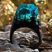 24 Colors Secret Wood Resin Ring with Wood Woods Waterfall Micro-landscape Ring цена