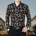 Высокое качество осень человека цветочный печати рубашка повседневная с длинным sleee цветы хлопка рубашка