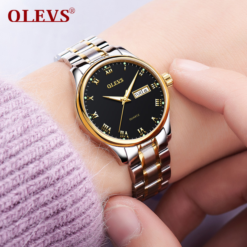 OLEVS Luminous Women Quartz Watches Gold Color Dial Leather Strap Ladies Wristwatch Top Brand Steel Belt Womans Clock Watch 5568 olevs 5873 luxury hollow out dial watch women luminous hands golden quartz watches leather wristwatch ladies clock reloj mujer