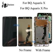 100% 테스트 된 원본 5.2 인치 bq aquaris x/bq aquaris x pro lcd 디스플레이 + 터치 스크린 디지타이저 어셈블리 (프레임 포함)