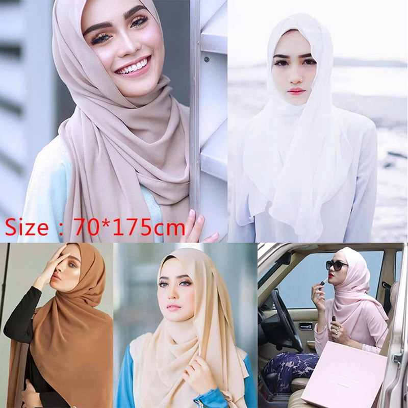 Nibesser Wanita Polos Bubble Chiffon Syal Jilbab Wrap Cetak Warna Solid Selendang Headband Muslim Jilbab Syal Syal