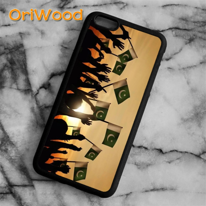 OriWood Pakistan Flag Banner Case cover For iPhone 6 6S 7 8 Plus X 5 5S SE Samsung galaxy S5 S6