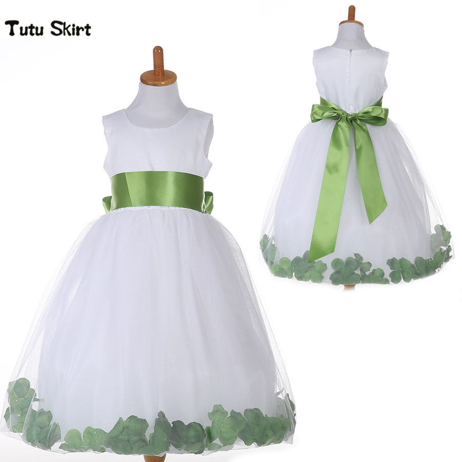 Kids Infant Baby Girls Flower Petals Dress Children Bridesmaid Elegant Tutu Dress Pageant Wedding Prom Tulle Formal Party Dress