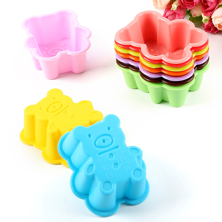 XIBAO Hot Sale 10Pcs Silicone Bear Shape Cake Mold Soap Jelly Muffin Cup Kitchen Dining Bar Supplies Bakeware Tools MK1721