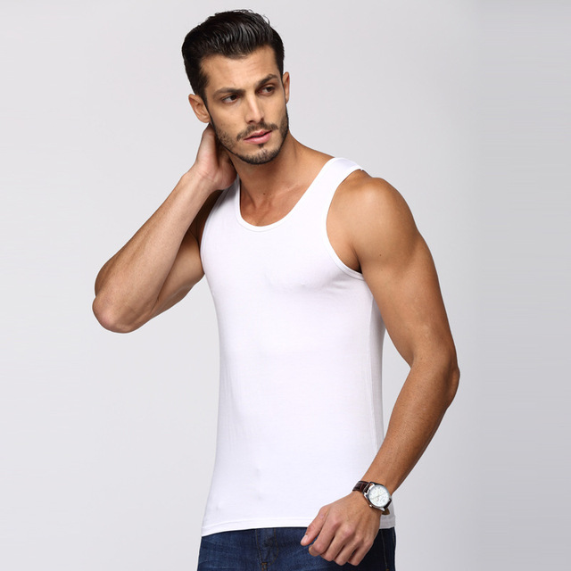 EXILIENS Men Vest Tank Top Brand Man Underwear Mens Sexy Undershirts Pure Modal O Neck Fitness Elastic Force Size Plus L-XXL