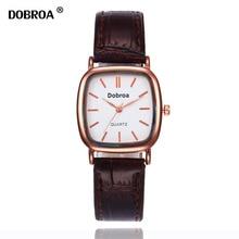 DOBROA Zegarek мески Montre Для женщин часы Кофе Золотой световой Водонепроницаемый Сталь ремень пара студенческих Для мужчин Для женщин кварцевые часы