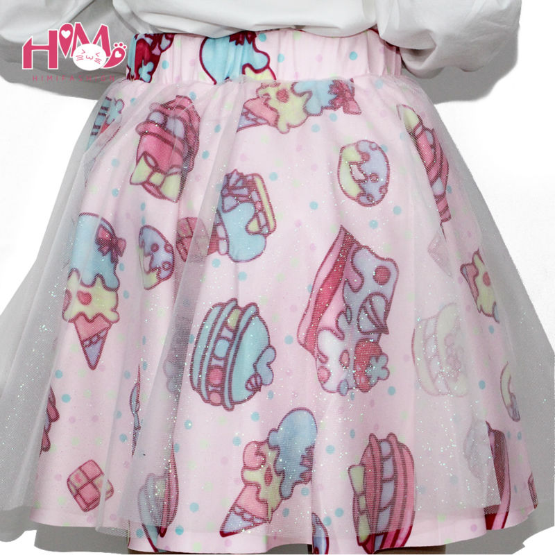Soft Sister Lolita Short Skirts Womens Japan Fashion Cake Strawberry Cute High Waist Girls Gauze Skirt