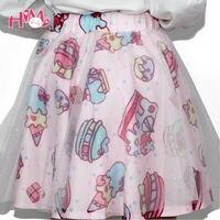 Mềm Chị Lolita Ngắn Váy Nhật Bản Thời Trang Lady Tutu Váy Bánh & Strawberry Eo Cao Dễ Thương Girls 'Gạc Voan Váy n
