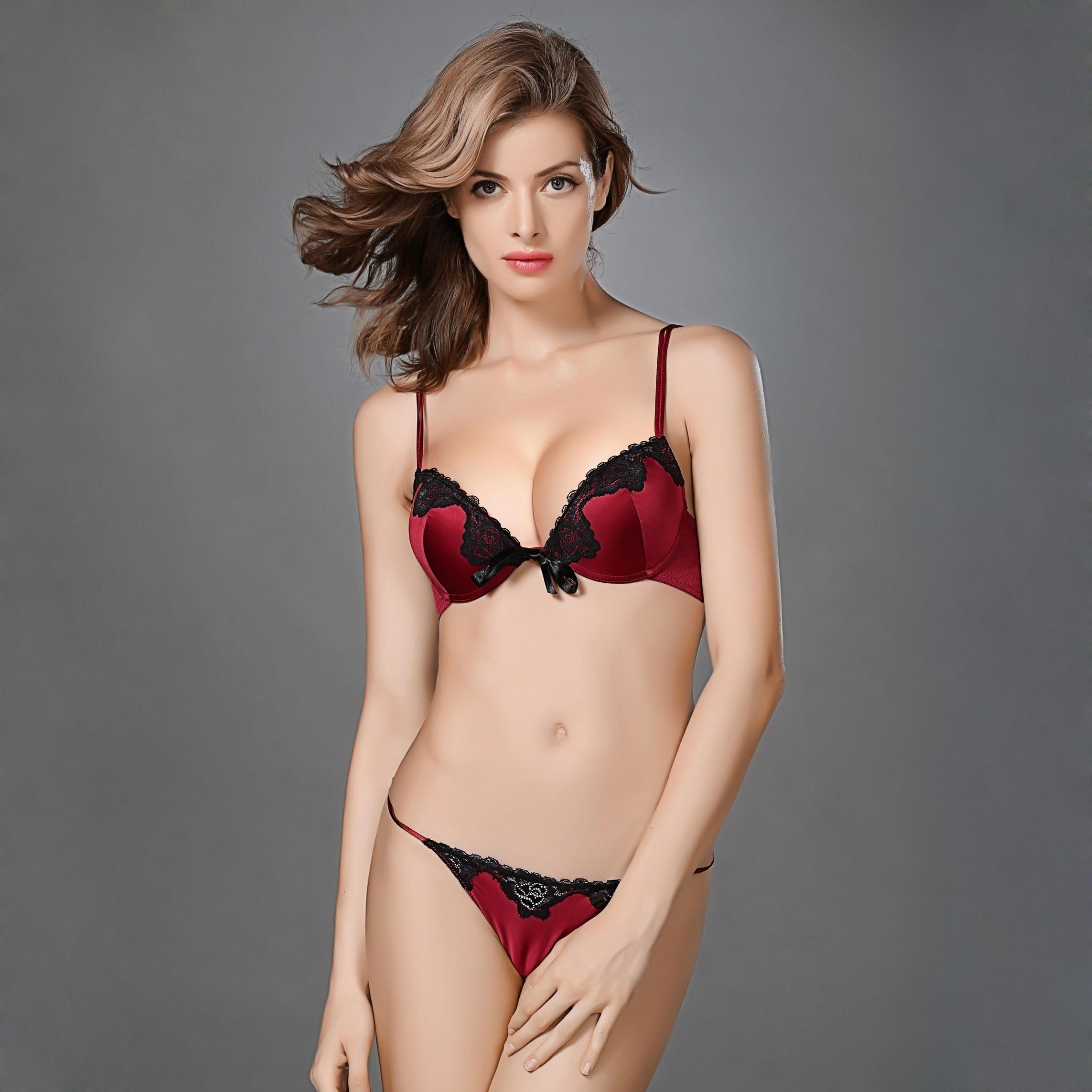 c12e2d1f4d7 Padded Bra Set Silk Push Up Girls Small Bra Thong Sets Lace B Cup 70B 75B  80B 85B France Sexy Lingerie Underwear Women G-string
