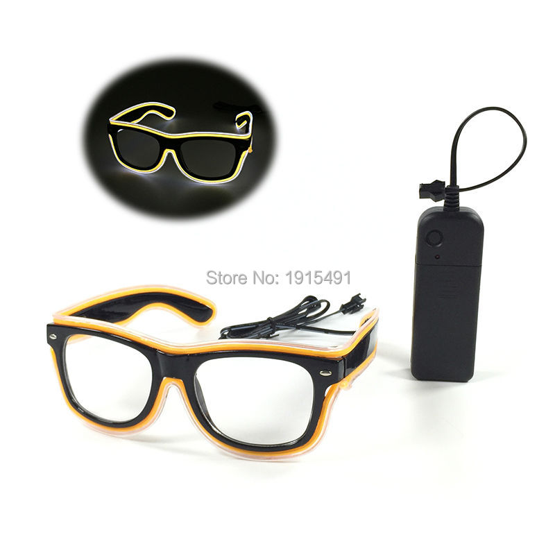 High Quality Wedding decor Luminous EL wire Eyewear Holiday Lighting Led Neon Light Sound Activated Sunglasses with DC-3V Driver