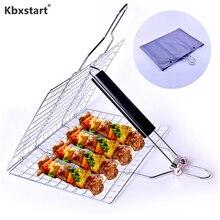 Kbxstart складные принадлежности для барбекю из нержавеющей стали, квадратная жареная сетка, жареная рыба на гриле, высокое качество, инструменты для барбекю
