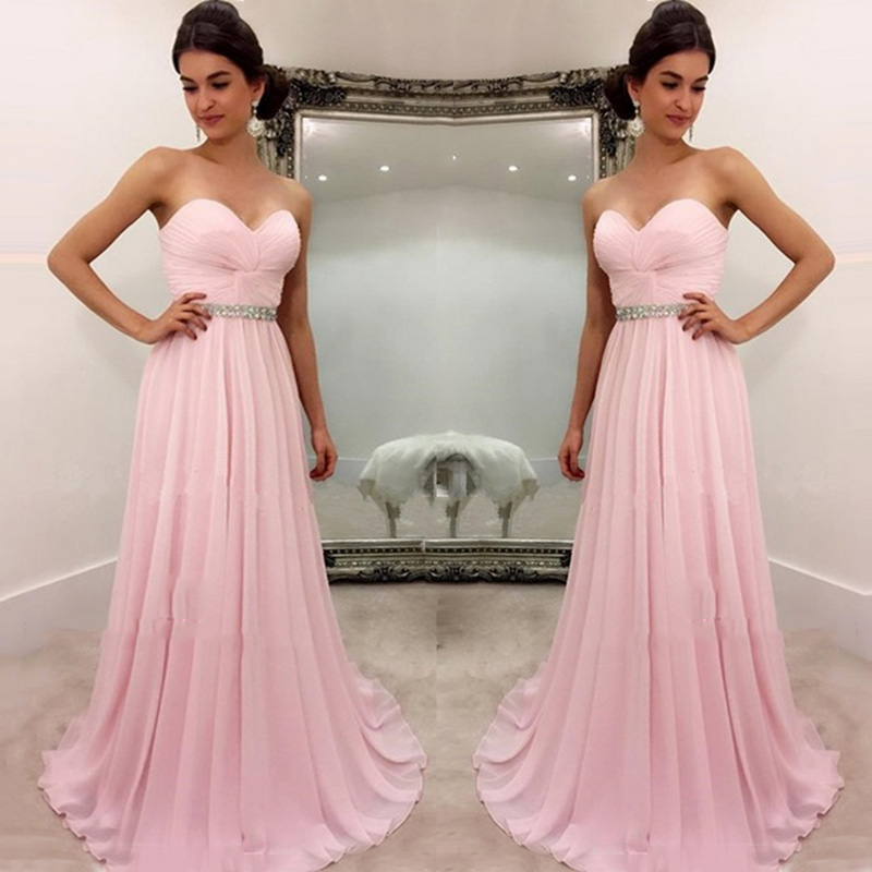 Sexy Sweetheart A-line Bridesmaid Dresses 2018 Crystal Beaded Pleats Simple Pink Prom Party Dress Cheap Prom Gowns Custom Made