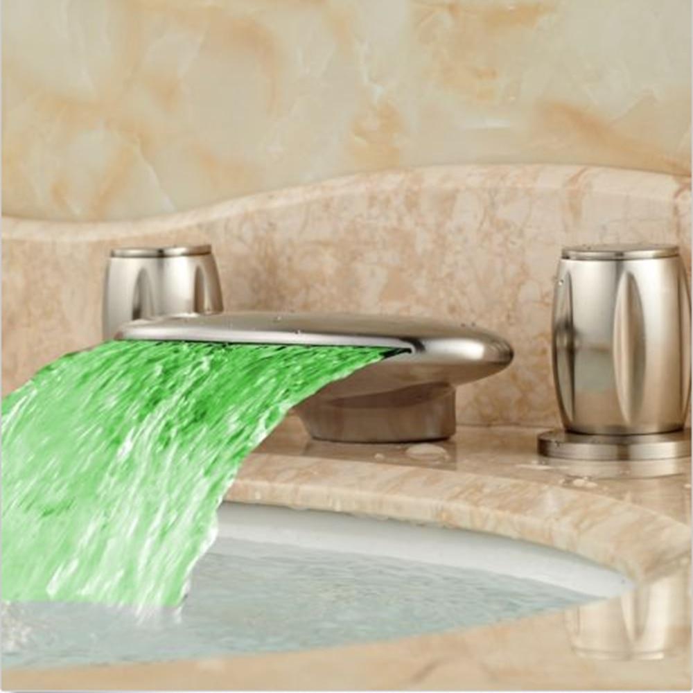 Nickel Brushed Waterfall Basin Faucet LED Spout Vanity Mixer Tap Dual Handles