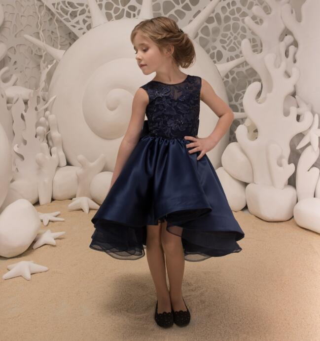Flower Girls Dresses For Weddings Dark Blue Lace Ruffles O-neck Ball Gown Knee Length First Communion Pageant Gowns Any Size high low flower girl dresses beaded organza ruffles v neck first communion dress 2018 girls pageant gown custom any size