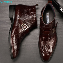 Handmade 2019 Hot Crocodile Pattern Mens Dress Boots Fashion Buckle Chelsea Ankle Genuine Leather Men Casual Boots