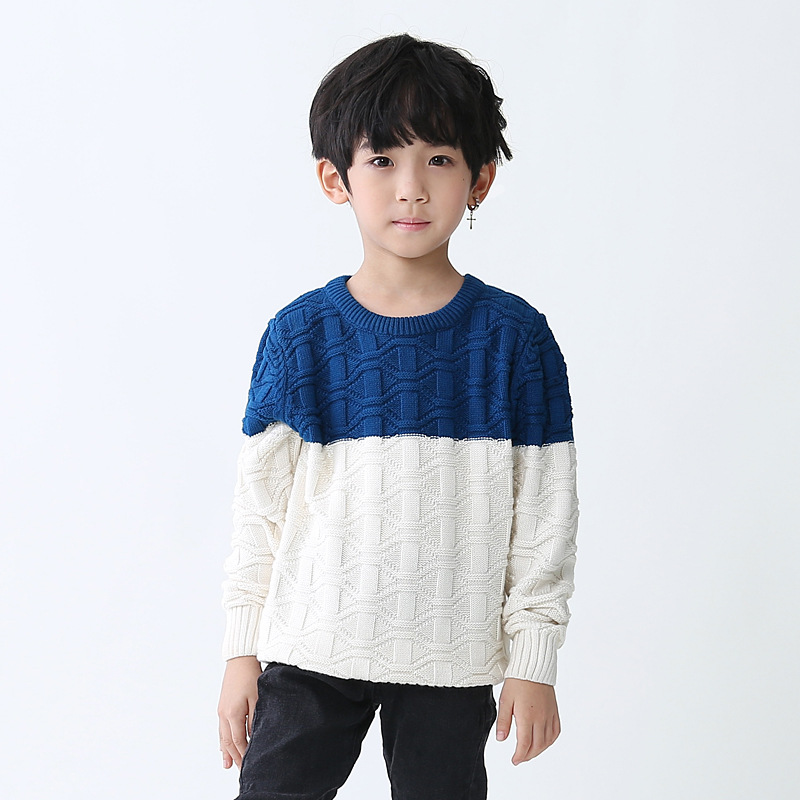 Baby boys Sweater Jumper Autumn Winter warm O-neck Outerwear 2 color patchwork Knitted Pullovers Children Clothes cardigan