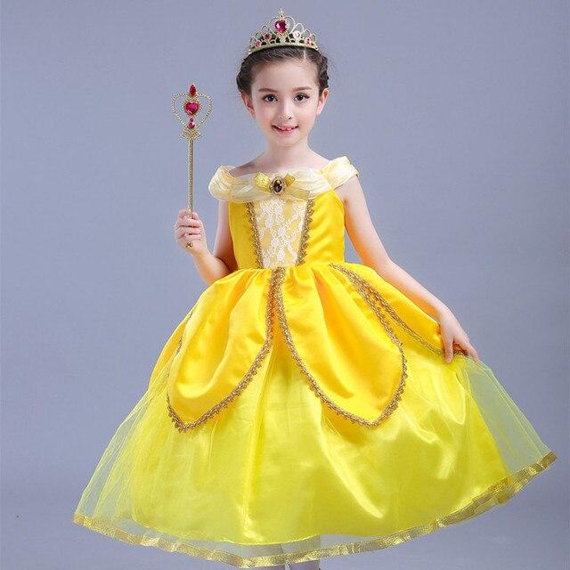 61c6792f3a 2017 nueva película belleza y la Bestia Belle princesa vestido amarillo  Cosplay Día de los niños