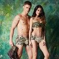 O novo 2016 casal modal underwear da moda Camuflagem impresso amantes respirável low-rise calcinha cueca boxer shorts tronco