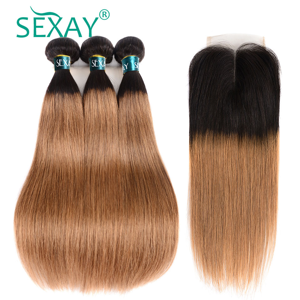 SEXAY <font><b>1B</b></font>/<font><b>30</b></font> Brown Hair <font><b>Bundles</b></font> <font><b>With</b></font> <font><b>Closure</b></font> Two Tone Ombre Blonde Brazillian Straight Human Hair Weave 2/3 <font><b>Bundles</b></font> <font><b>With</b></font> <font><b>Closure</b></font> image